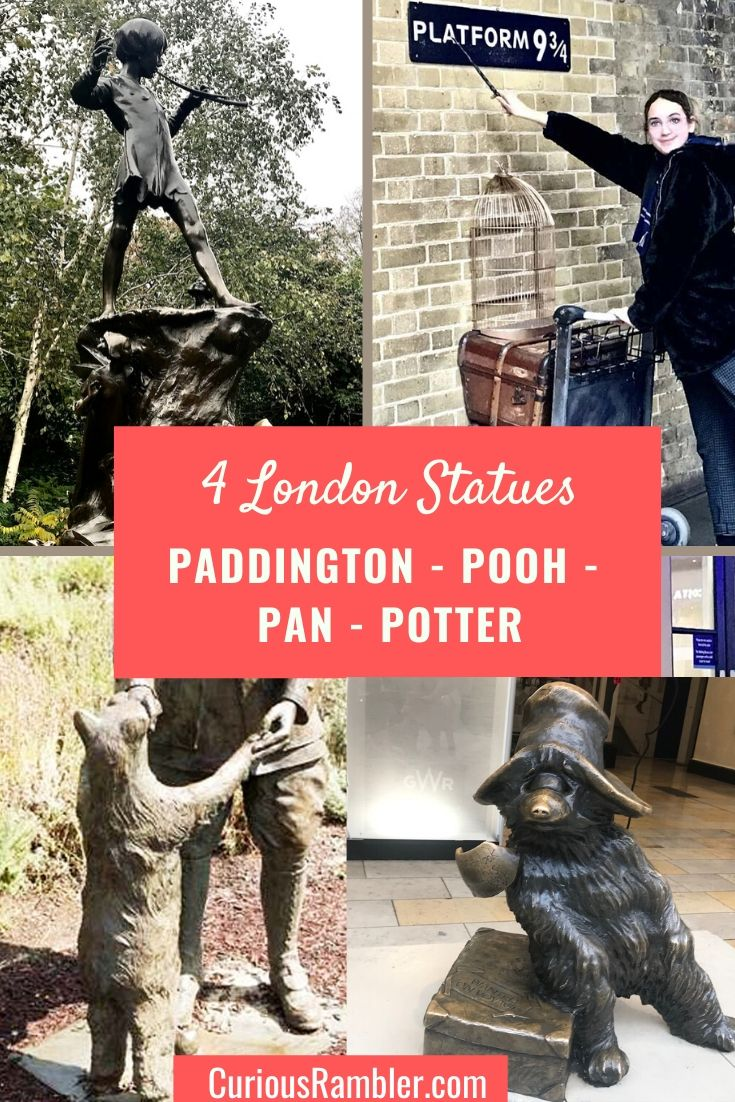 4 London Statues - Paddington - Pooh - Pan - Potter