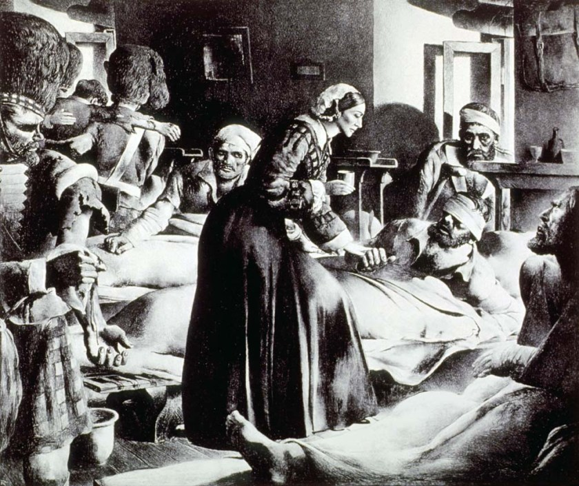 Print of Florence Nightingale tending to the wounded