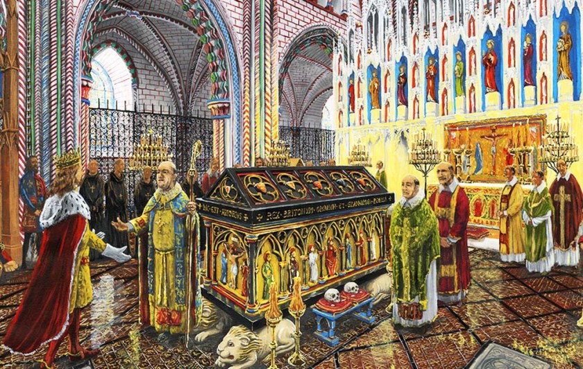 Illustration of the tomb of King Arthur in the church.