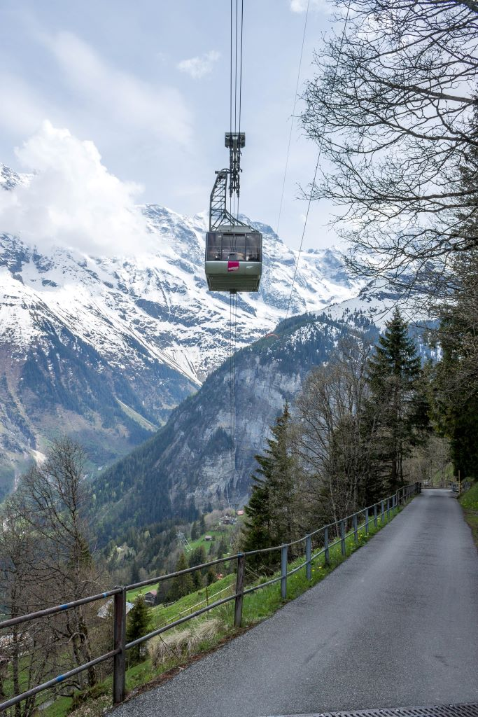 Cable car above Stechelberg in Switzerland