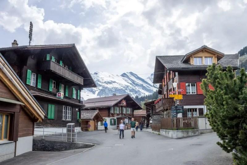 Murren village with alpine houses