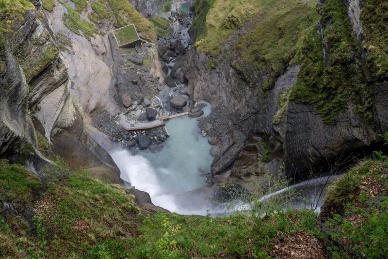 Looking down from Reichenbach falls