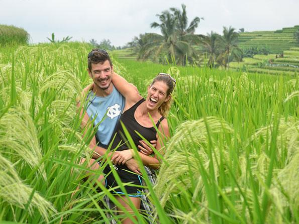 Playing around in the rice fields, Bali