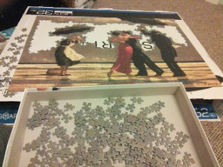 Wednesday 10-02-16. Vettriano puzzle is coming along.