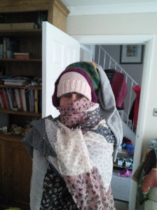 Friday 19-02-16. Mum declared it was multi-hat day and appeared in the living room wearing 3.