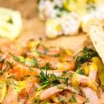 Recept gravad lax met aardappelsalade en komkommersalade