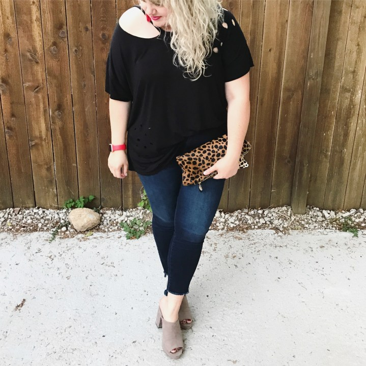 Plus Size Fashion blogger brings you links to 5 trendy/edgy weekend ready outfits. Post includes exact links to outfits pictured.