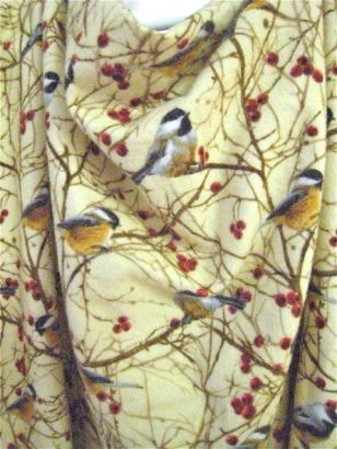 detail of birds on 100% cotton flannel, very soft hand