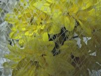 ecru russian netting with yellow daisies