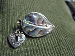 this lovely abalone & nickel silver pin came all the way from the Midlands, along with the cute dangle