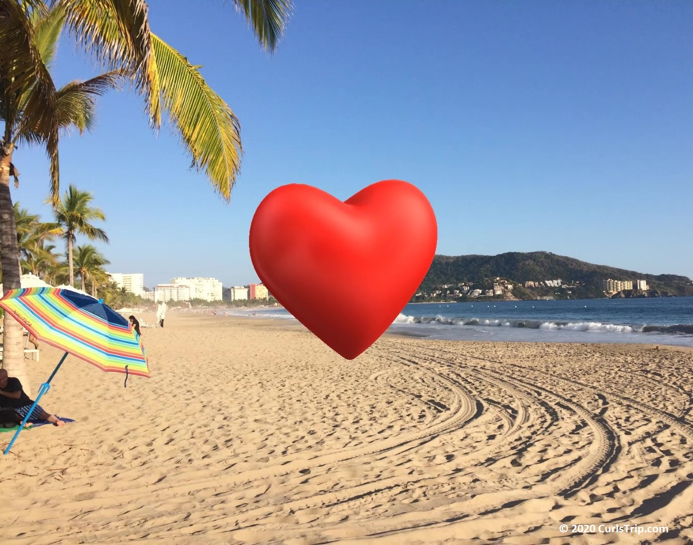 Zihuatanejo beach with superimosed read hear in center