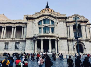 Front view of the Palacio de Bellas Artes in Mexico City.
