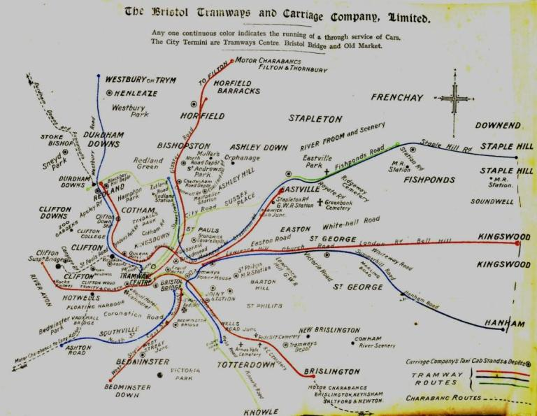 Bristol Tramways 1911 route map