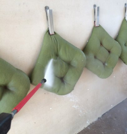 The same method that works for refreshing outdoor furniture cushions- a trip to the carwash- works great for horse blankets and sheets.