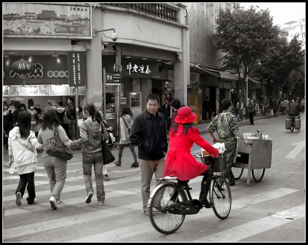 Girl in red, Guangzhou.