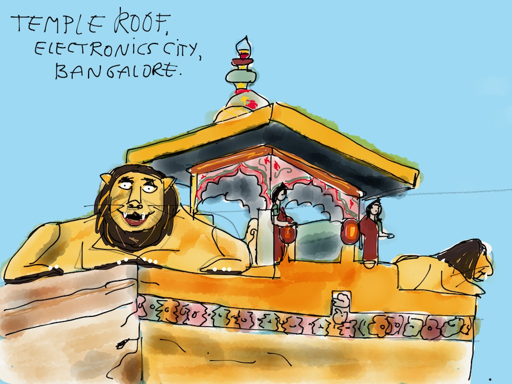 sketch of temple roof