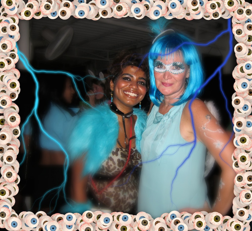 two ladies in blue during halloween |curlytraveller.com