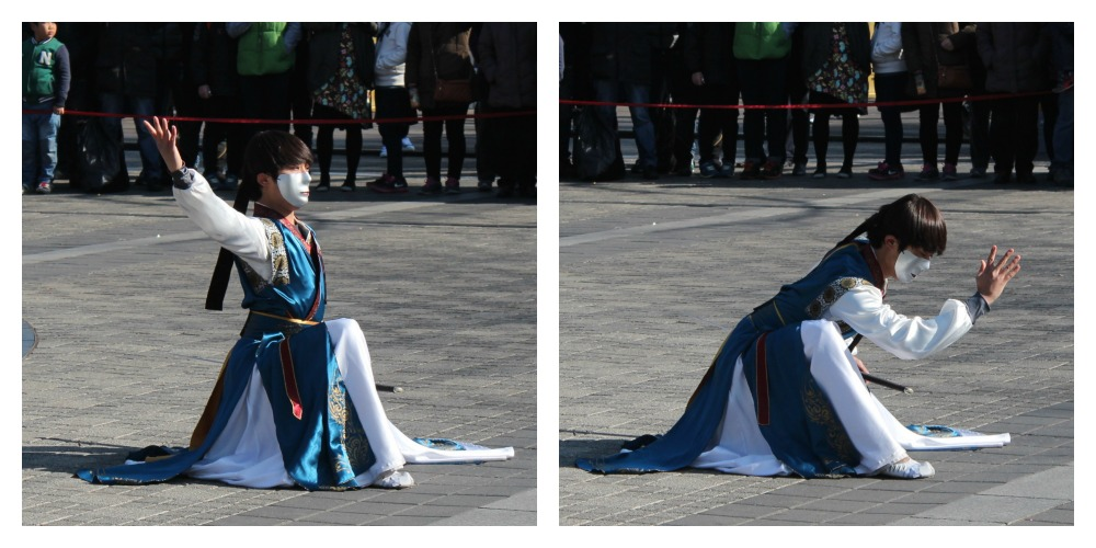 Korean sword fighter with mask at N Tower Seoul| curlytraveller.com