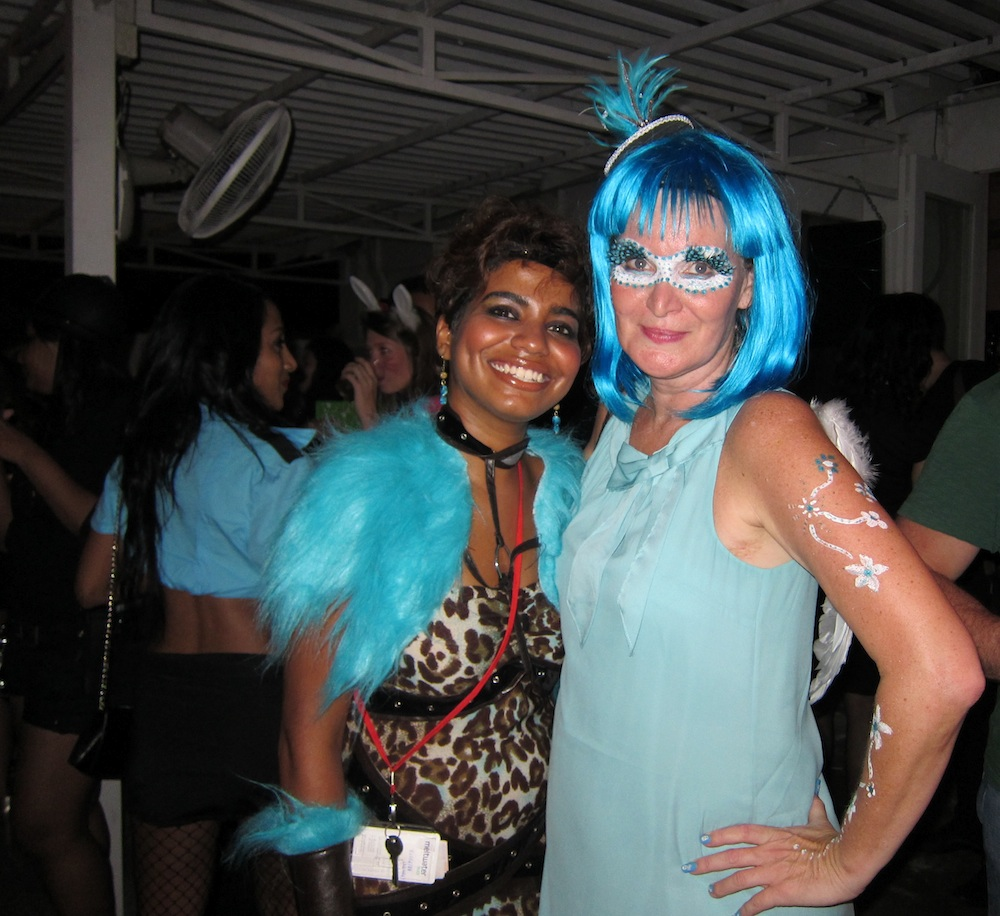 two women in blue during halloween in singapore |curlytraveller.com