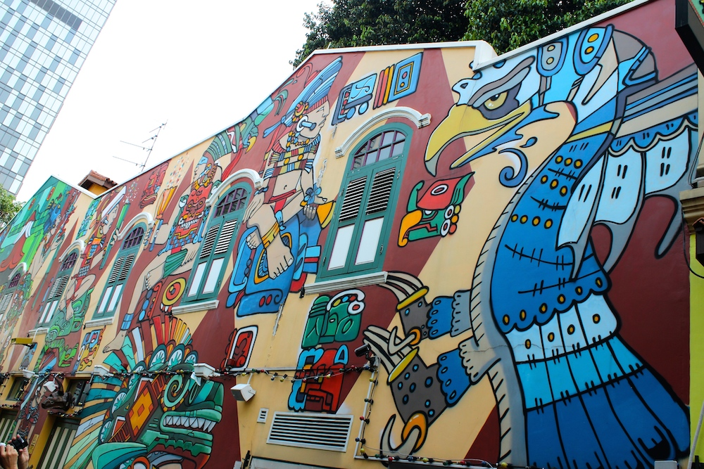 Where to find street art in singapore for Aztec mural painting