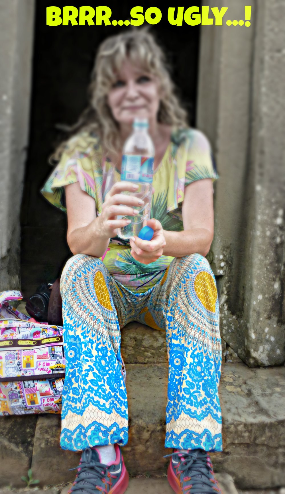 Blond woman in ugly pants |curlytraveller.com