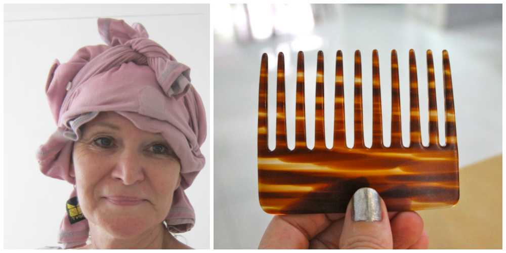 Plopping my hair and wide-toothed comb |curlytraveller.com
