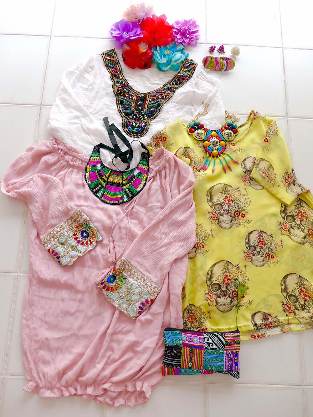 Ethnic tops and accessories in flatlay |curlytraveller.com
