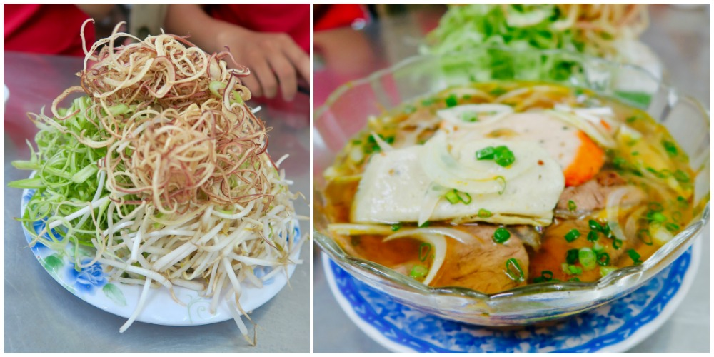 Noodle soup dish at local restaurant in Saigon |curlytraveller.com