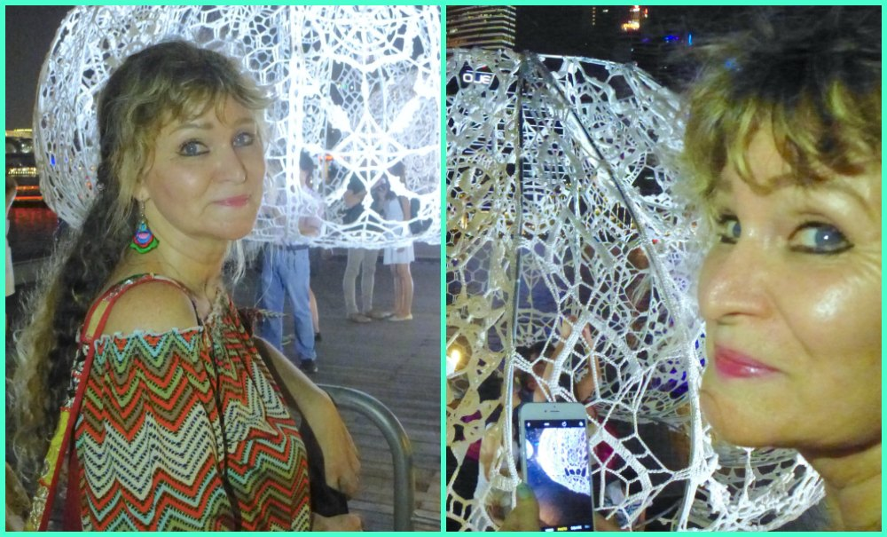 Woman looking at crochet urchins at iLight Marina Bay 2017 |curlytraveller.com