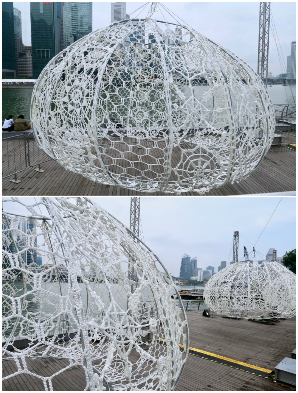 Crochet urchins at light marina bay singapore |curlytraveller.com