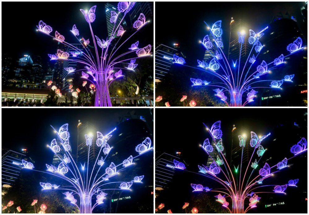 Colorful butterflies at iLight Marina Bay |curlytraveller.com