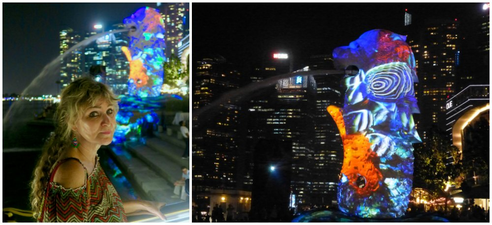 Projections on the Merlion at Marina Bay Singapore |curlytraveller.com