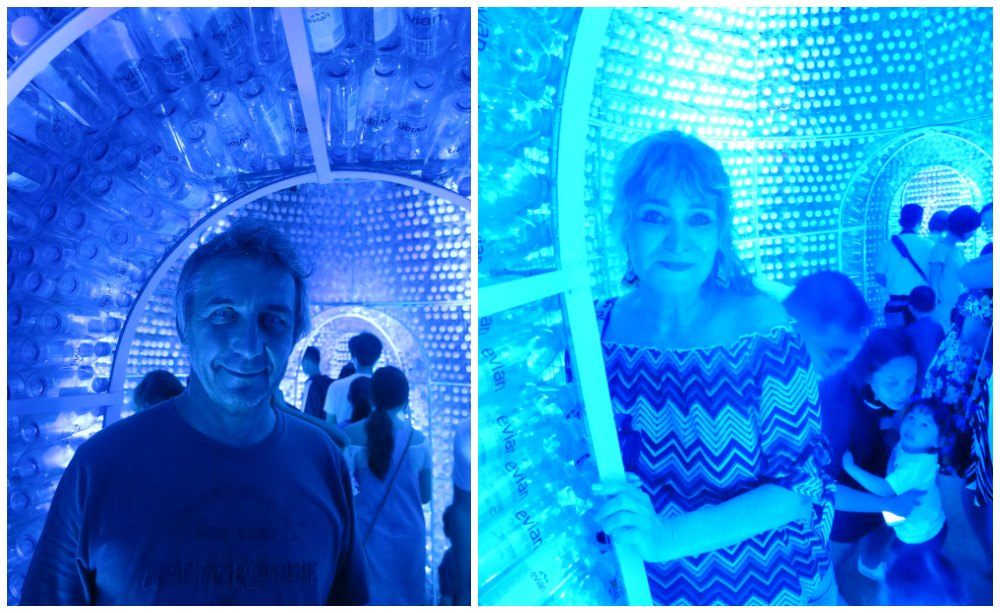 Man and woman inside Ocean Pavilion at iLight Marina Bay |curlytraveller.com