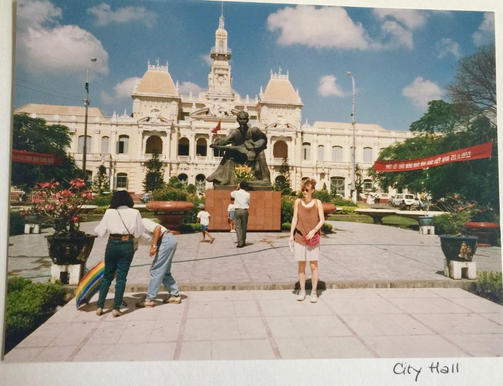 Woman in front of City Hall in Saigon 25 years ago |curlytraveller.com