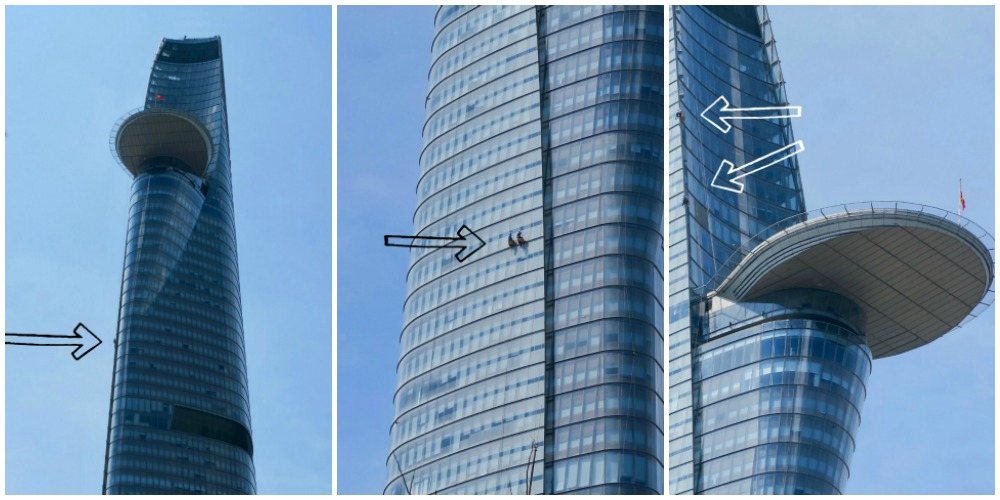 Window cleaners hanging from Bitexco Tower Saigon |curlytraveller.com