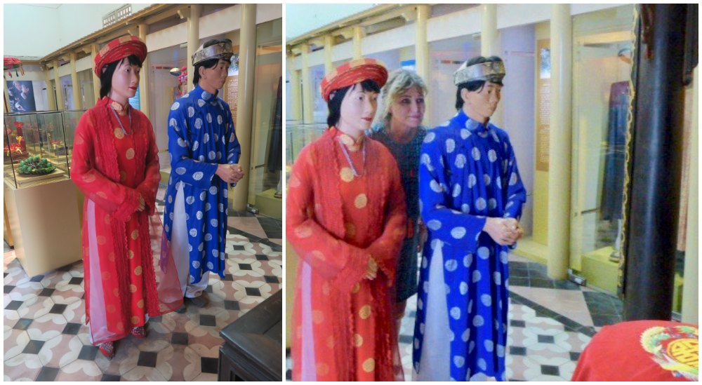 Woman with two mannequins in ethnic costumes |curlytraveller.com