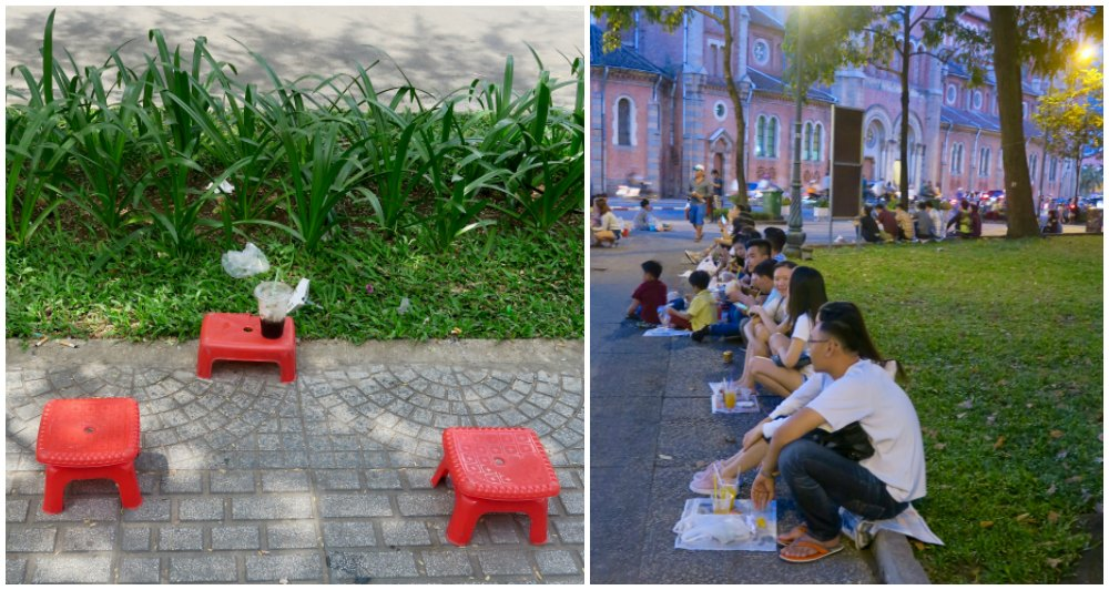 People on tiny stools or newspapers in the streets of Saigon |curlytraveller.com