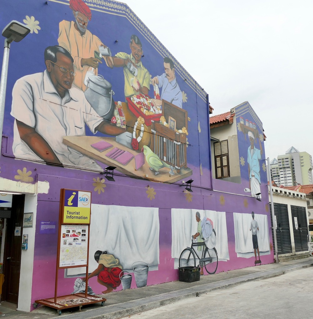 Gorgeous mural of old professions in Little India Singapore |curlytraveller.com
