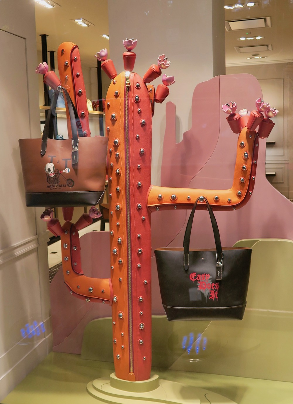 Leather cacti in window display in Singapore |curlytraveller.com