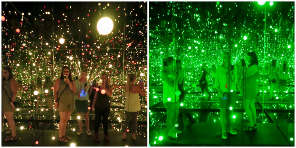 Women in infinity room by Yayoi Kusama |curlytraveller.com