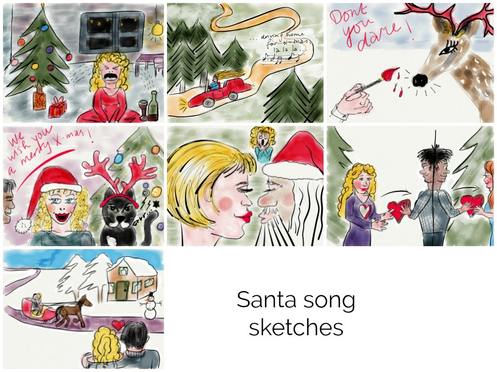 Sketches depicting famous Christmas songs made with Paper53 |curlytraveller.com