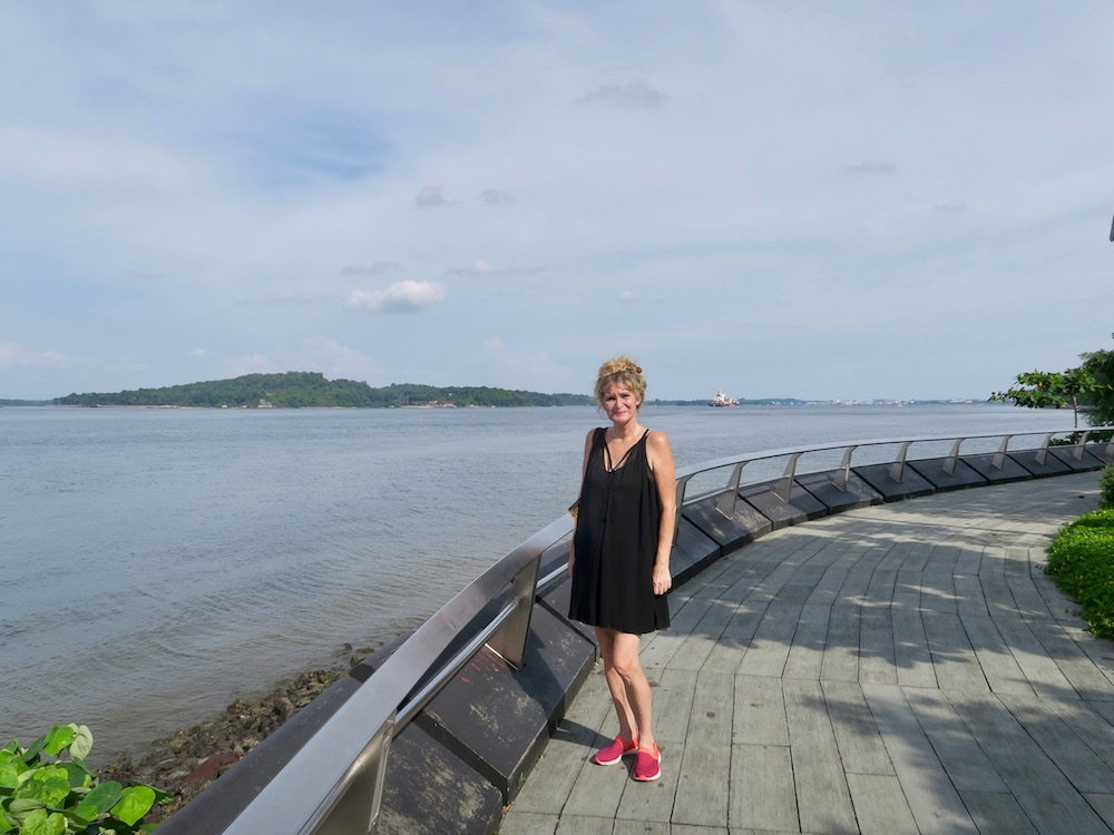 Woman at Punggol beach |curlytraveller.com