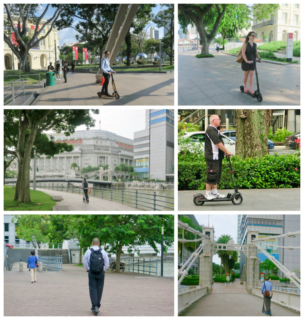 People on electric scooters in Singapore |curlytraveller.com