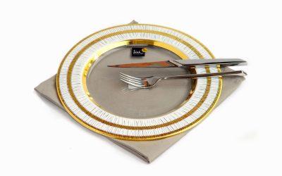Plato llano eisch modelo sarin revestido en oro medida 28 cm.