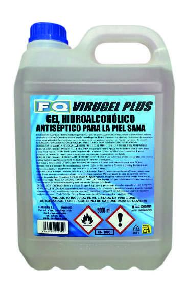 Gel hidroalcohólico antiséptico virugel plus 5 litros.