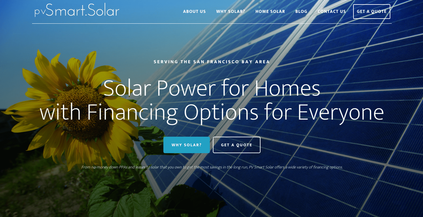 PV Smart Solar website screenshot
