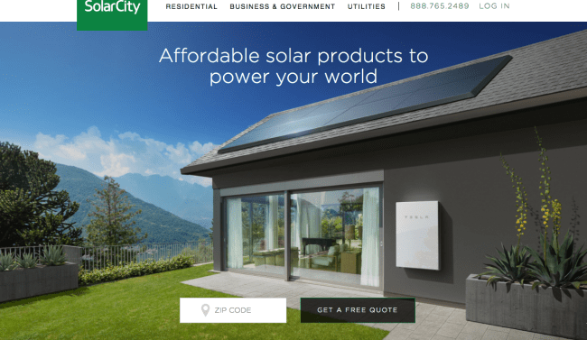 SolarCity website free quote form