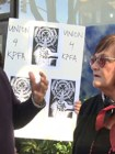 Arlene Englehardt, right, and a KPFA protester