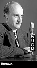 Edwin Burrows at the WUOM microphone