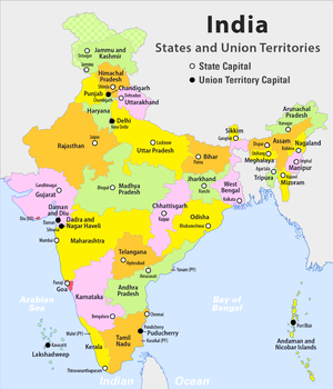 Indian States And Capital Governors And Chief Ministers Of - Map of the states and capitals